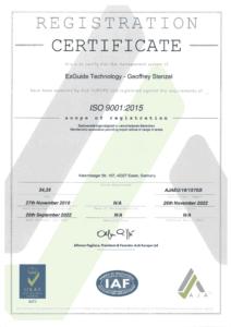 ExGuide ISO 9001 Zertifikat